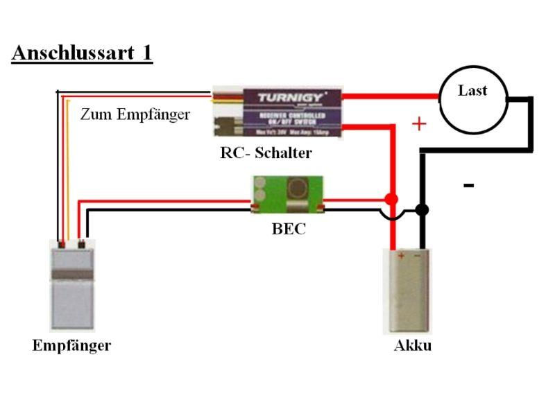 Elektronischer Schalter Single Switch 10A 30V - Turnigy Receiver Cont